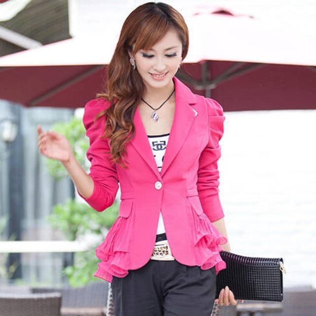 เสื้อคลุมสตรีแจ็คเก็ตสูทลำลองเสื้อแจ็คเก็ตลูกอมปุ่มเดียวแต่งงานหวานแจ๊กเก็ตB Laser Femininoขนาดบวก6XL LQ105