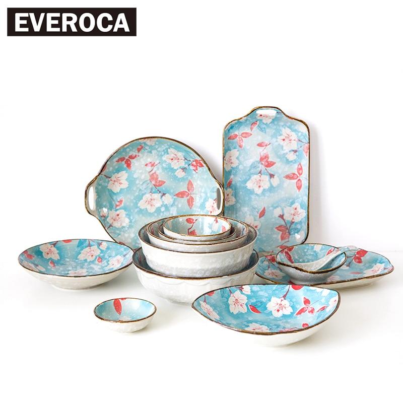 Japanese Snowflake Magnolia Series Ceramic Tableware Rice Bowl Ramen Bowl  Plate Sauce Dish(China)