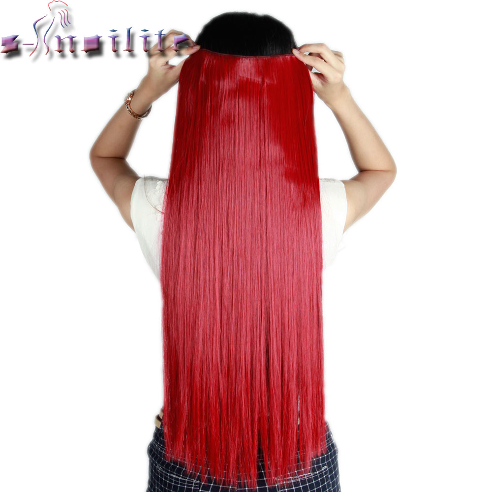Hearty S-noilite Long Dark Red 66cm Real Thick 150g Clip In Hair Extensions One Piece Straight Synthetic 3/4 Full Head Hair Extension Reliable Performance Synthetic Clip-in One Piece