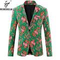2017 Nueva Llegada del Hombre de la Marca Blazers Florales Moda Masculina Slim Fit Del Estilo de Inglaterra Chaqueta Chaquetas Blazer Masculino Traje Homme