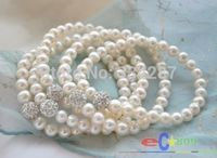 10X10 jewerly free shipping> wholesale Stretch 8 8mm white pearl silver gemmy bead bracelet 5pcs