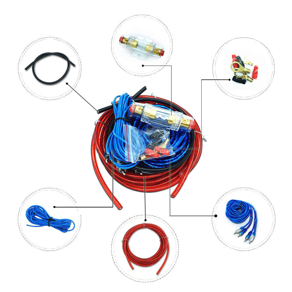 car audio wire wiring amplifier subwoofer speaker installation kit 8ga power cable 60 amp fuse holder [ 1001 x 1001 Pixel ]