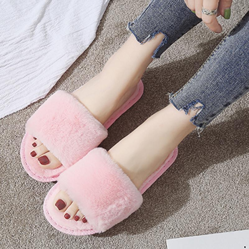 Fashion Women Slippers Home Indoor Plush Slippers Female Shoes Comfortable Fur Ladies Slides Chaussure Femme children parents boys girls cartoon bathroom slippers summer women home slippers lovers slides flat with indoor fashion new