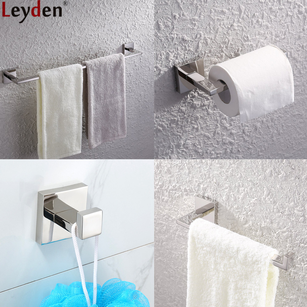 Leyden 4pcs Bathroom Accessories Set Chrome Stainless Steel Single Towel Bar Towel Ring Toilet Paper Holder Clothes Towel Hook stainless steel square towel ring chrome finishing flg8902