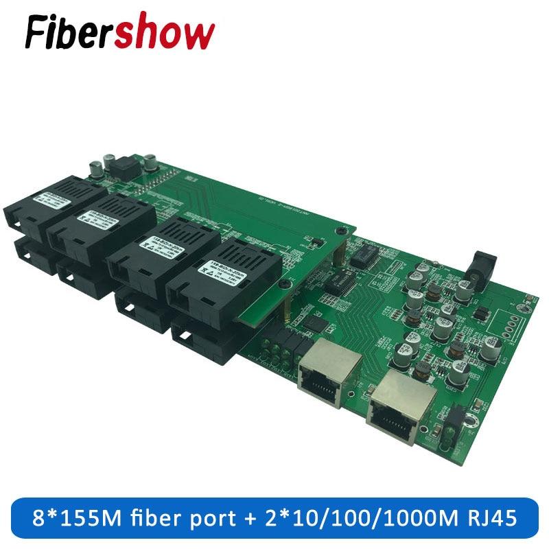 Gigabit Industrial Grade Single Mode Single Fiber Ethernet Switch 8 155M Fiber Port 2 1000M RJ45 PCB Board