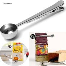 ФОТО linsbaywu premium stainless steel ground coffee tea measuring scoop spoon with bag seal clip fruit vegetable scoops tools