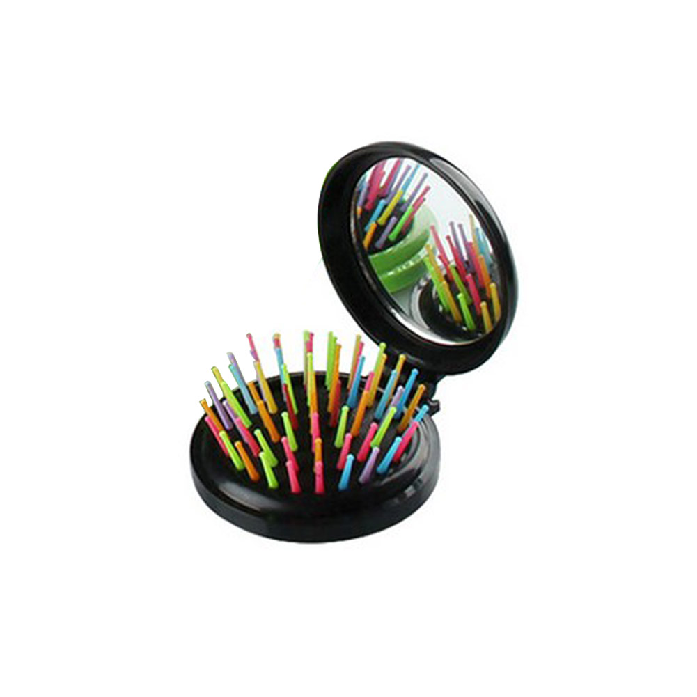 Mirror Anti static Pocket Folding Hair Comb With Curly Brush Mini Rainbow Airbag Massage Round Travel Makeup Comb With Mirror in Combs from Beauty Health