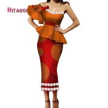 цена на 2018 autumn  Bazin Riche African Print Kanga Costume 2 Piece Tube Top Women's African Cropped Top Petal Sleeve Skirt Set  WY3364