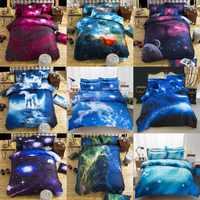Conjuntos de cama universo espaço exterior temático roupa de cama 3d galaxy bs04 capa edredão folha plana 2 pces/3 pces/4 pces único tamanho duplo