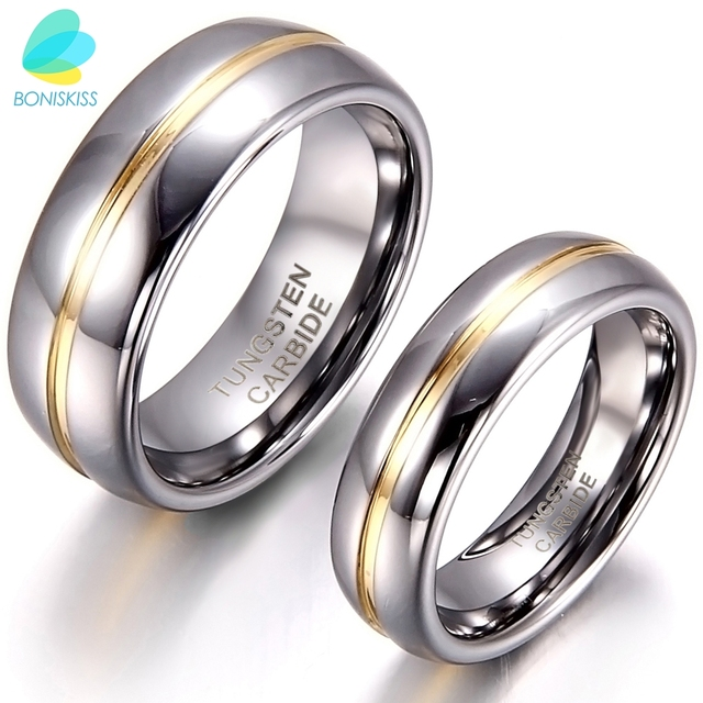 Boniskiss Gold Inset Tungsten Carbide Ring For Anniversary Engagement Wedding Rings 6 8 Mm