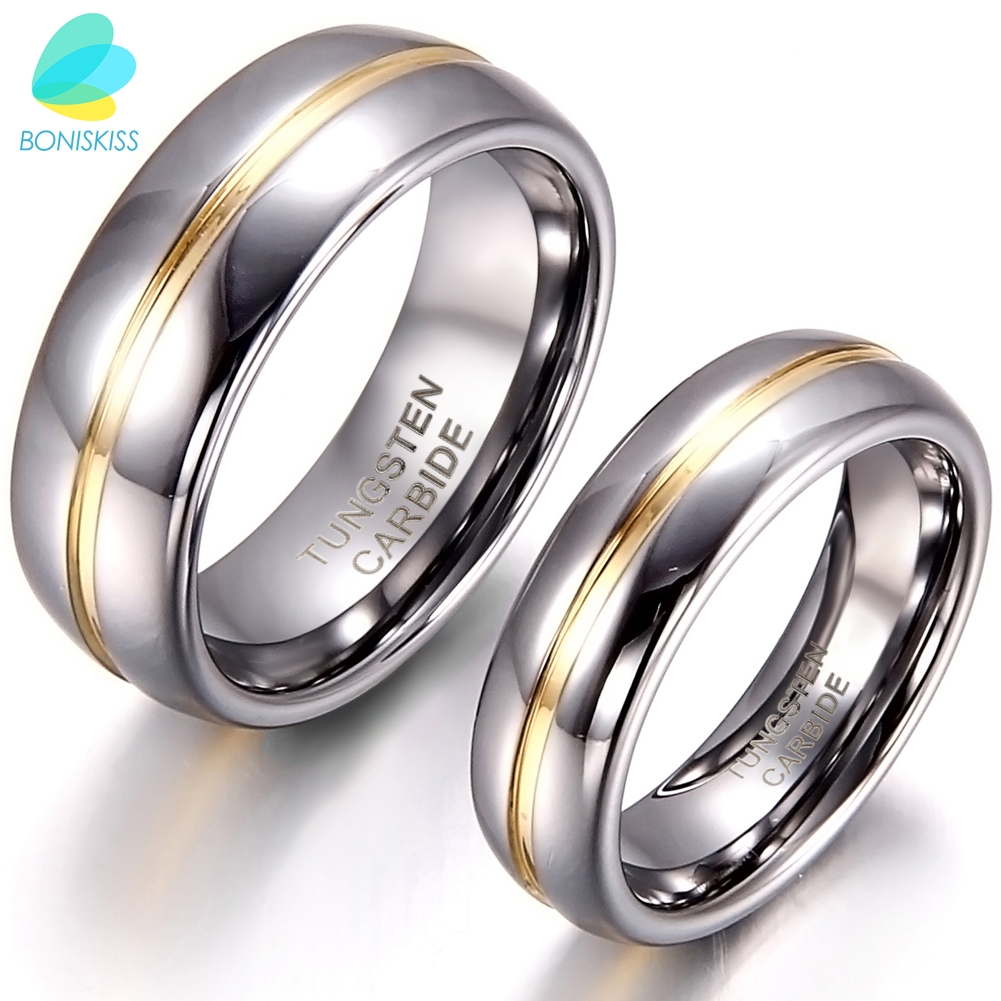 BONISKISS Pasangan Inset Tungsten Carbide Cincin untuk Anniversary Engagement Wedding Rings 6/8mm Bague Femme Pecinta Cincin Per ...
