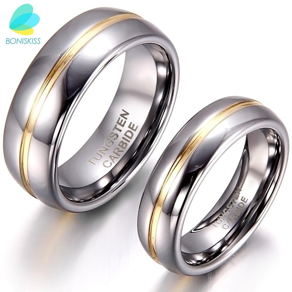 BONISKISS Couple encart carbure de tungstène Bague pour anniversaire fiançailles anneaux de mariage 6/8mm Bague Femme amoureux bijoux Bague