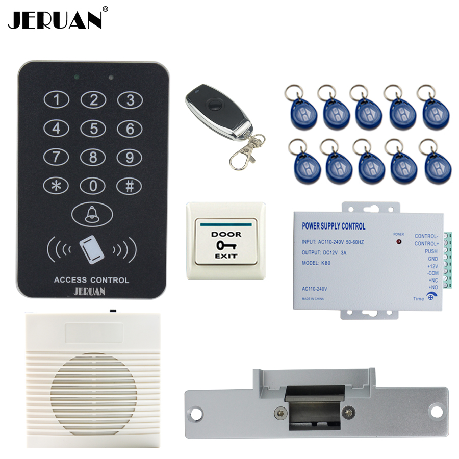 JERUAN Cool black RFID Password Access Controller system kit+doorbell+Remote control+Exit Button+In stock Free shipping jeruan cool black rfid password access controller system kit speaker doorbell remote control exit button free shipping