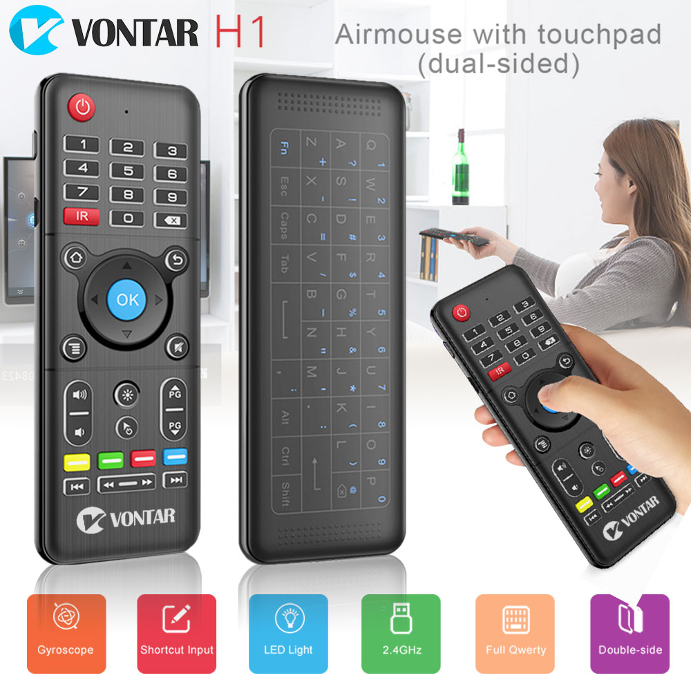 лучшая цена VONTAR 2.4GHz H1 plus Wireless Air mouse mini keyboard Remote Control Standard or Backlit Full Touchpad for PC Android TV Box