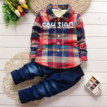 Children's clothing 2017 new cotton winter plush plaid shirt + pants suit 1 2 3 years old baby boy clothes