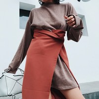 TWOTWINSTYLE Long Pullovers Dress Suits Women Big Size Two Pieces Set Loose Dresses Split High Waist