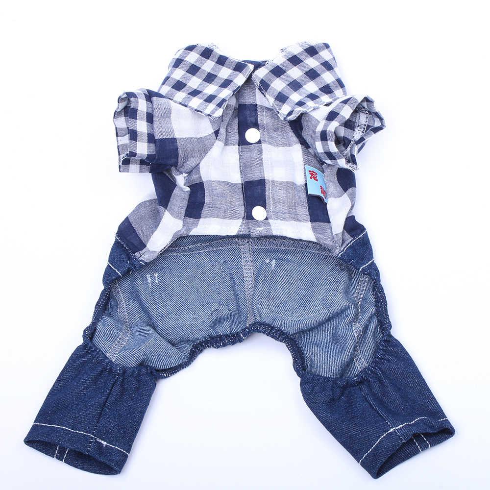 Baru Anjing Peliharaan Kotak-kotak Denim Jumpsuit Celana T-shirt Kucing Romper Mantel Jaket Musim Semi/Musim Panas Pakaian Pakaian