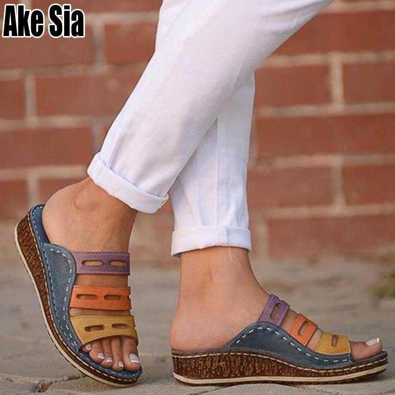 Mode Vrouwen Zomer Med Sleehak Vrouwelijke Gladiator Platform Sandalen Open Peep Toe Lady Meisjes Slippers Slides Scuff Schoenen A880