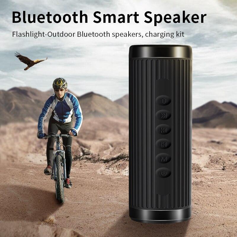 Waterproof Bicycle Bluetooth Speaker Outdoor Portable Wireless Flashlight Loudspeaker With Bike Mounting