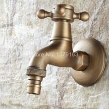 Cross Handle Antique brass Wall Mounted Mop Water Tap Garden Washing Machine Copper Faucet aav102