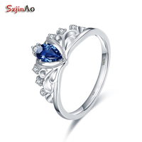 Szjinao 925 Sterling Silver Crown Wedding Rings For Women 0 36CT Heart Shape Blue Crystal Party
