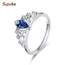 Szjinao стерлингового серебра 925 Корона Свадебные Кольца для Для женщин 0.5CT сердце Форма синий кристалл партии Золото Обручение кольцо bague Argent