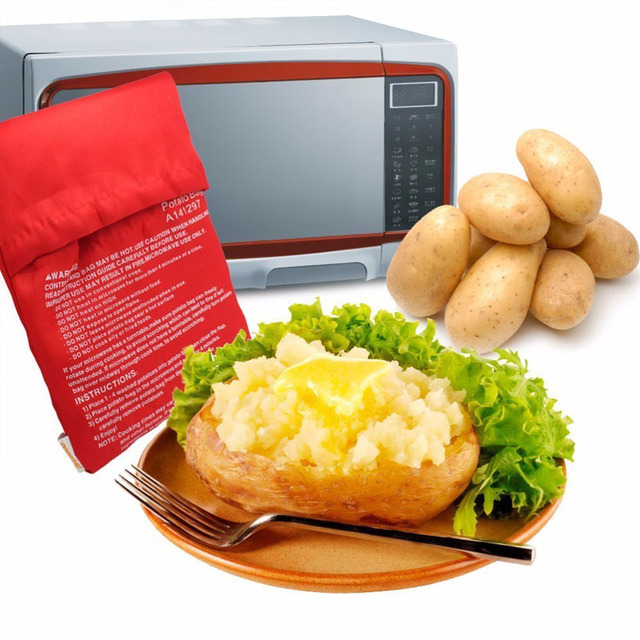 1pc Red Washable Cooker Bag Baked Potato Microwave Cooking Quick Fast Oven Potatoes