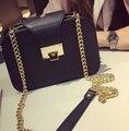 2017 de las mujeres bolso de la manera popular de dos capas bolsa de hombro bolsa de mensajero de la vendimia pequeño bolso del teléfono móvil bolsa de la cadena negro color