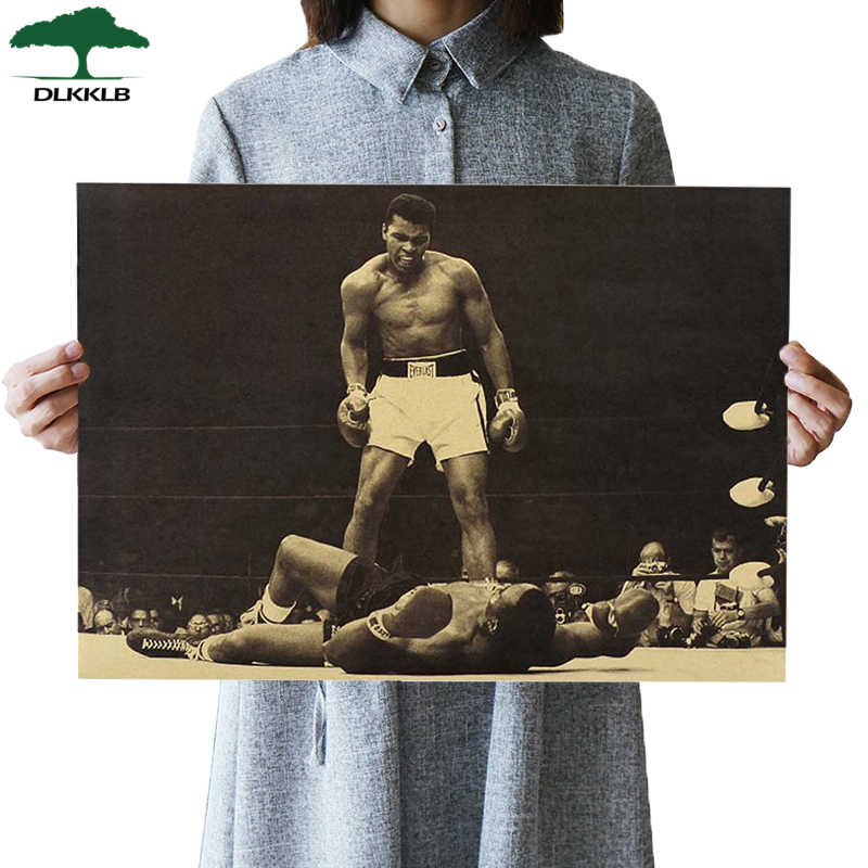 "DLKKLB ""Muhammad Ali""Vintage Poster Retro Kraft Paper Bar Cafe Interior Decoration Painting Movie Poster 51x35.5cm Wall Sticker"
