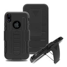 Black Rugged Hybrid Future Armor Impact Hard Case Belt Clip Holster Stand Cover for iPhone 4/4s/5/5s/6/6 Plus