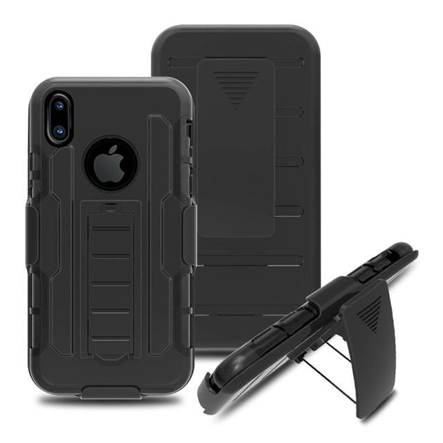 09f28387006 Heavy Duty caso híbrido resistente impacto funda protectora del clip de la correa  para Apple iPhone