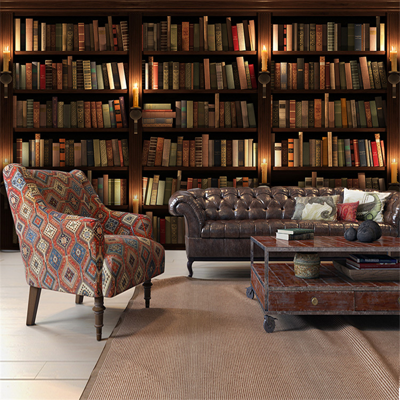 Beibehang 3d Simulation Bookcase Bookshelf Wall Paper Cafe