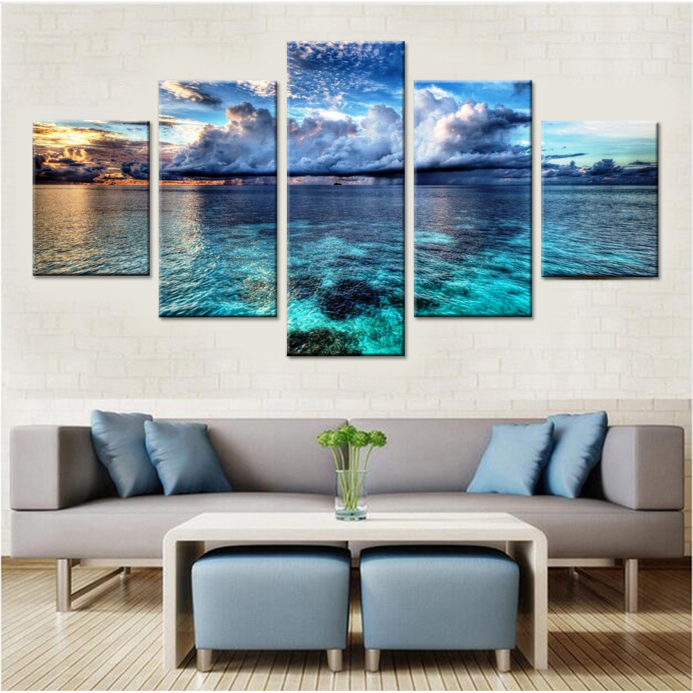 Calm Water Canvas Set Wall Art Decor Wall Modular Pictures for Living Room Wall Art Canvas Sea Modern Pictures Drop Shipping