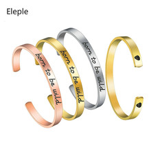 Eleple Fashion Stainless Steel Skull Shape Open Bracelet for Women Men Gold Color Bangle Party Gifts Jewelry Dropshipping S-B371