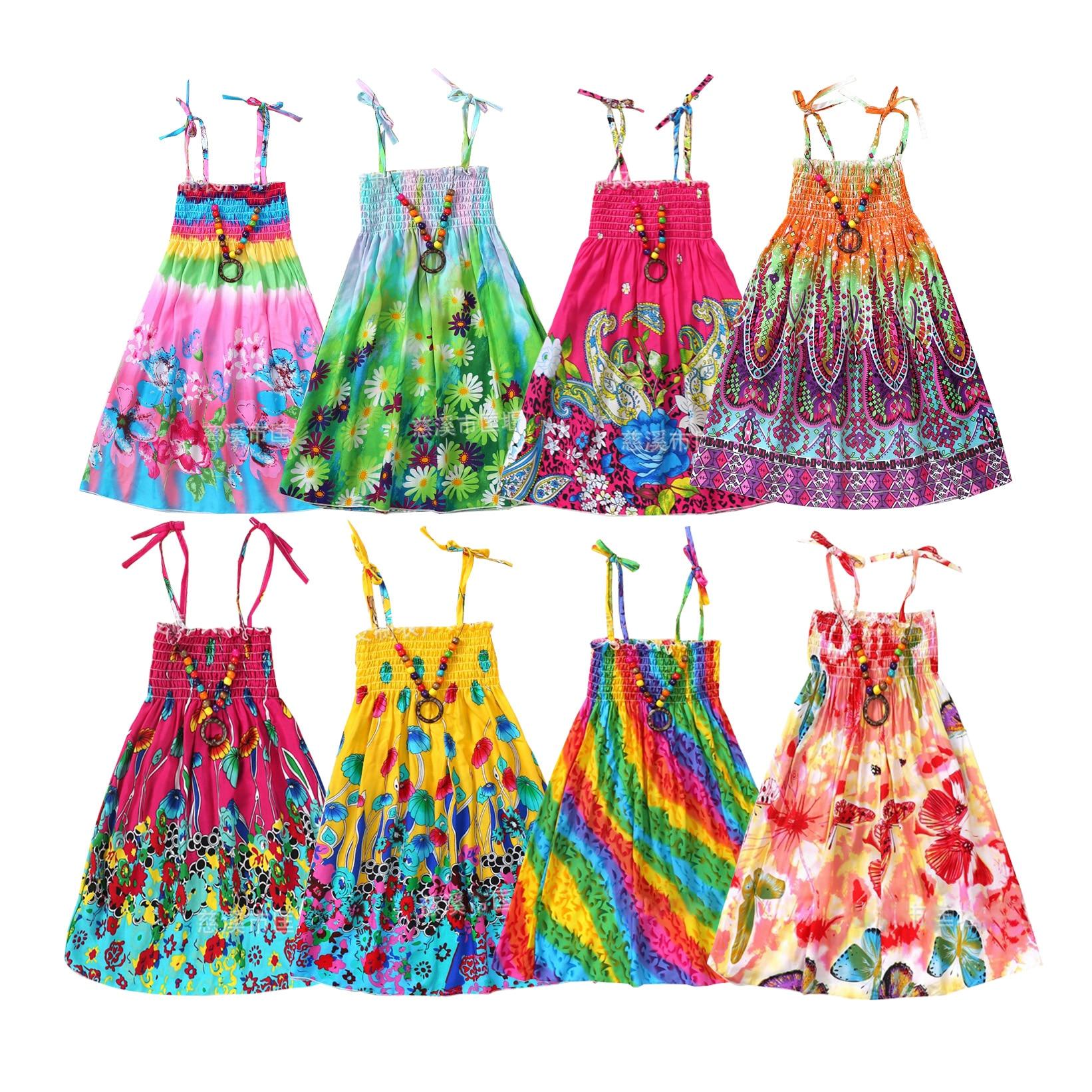 Summer Girls Rainbow Beach Dress Princess Dresses For Teen Girls Linen Clothes 3 6 9 12 Year With Necklace Gift
