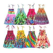 Vestido de verano para niñas, Vestido de playa Arco Iris, vestidos de princesa para chicas adolescentes, ropa de lino 3 6 9 12 años con collar de regalo