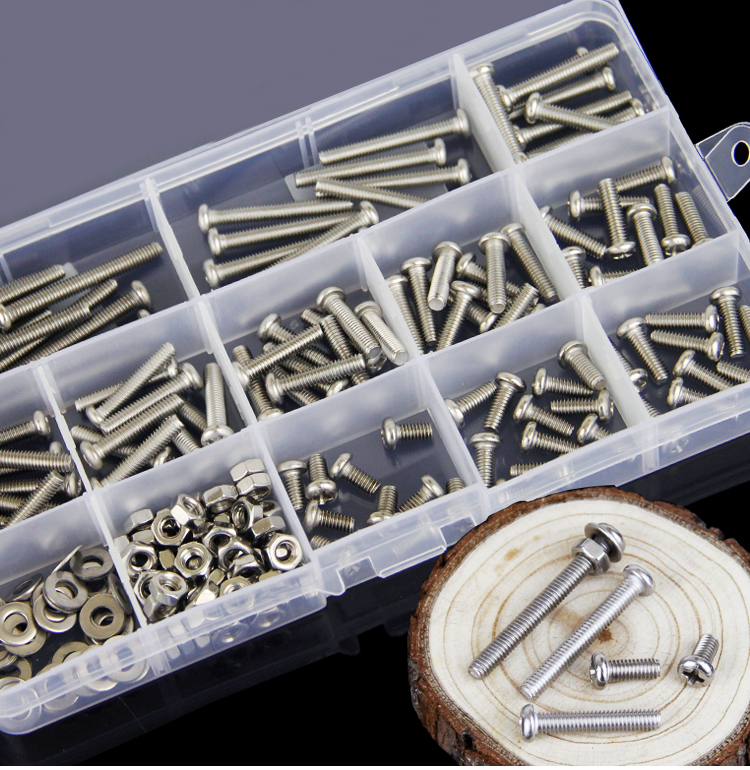 160pc/lot  M5/M6 304 Stainless Steel Phillips Round Screws Bolt Nut Washers Assortment Kit Hardware Fasteners Nut Bolt Sets