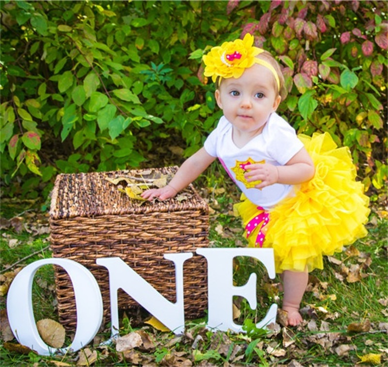 Baby 1st Birthday Party Girl Clothes Infant Baby Clothing Sets Rompers Skirt Headband Newborn Baby Girl First Year Tutu Outfits