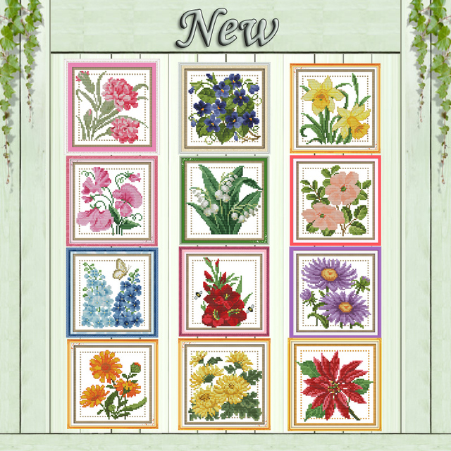 Twelve months colourful flower decor painting counted print on canvas DMC 11CT 14CT Cross Stitch kits embroidery needlework Sets