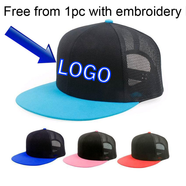 1ef0f79919 Blank Custom Baseball caps Supports LOGO Embroidery Mesh hats Candy-color  snap back Black Net