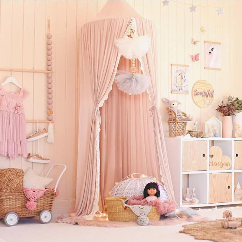 Crib Netting Baby Bedding For Hammock Baby Kids Anti-mosquito Dome Fantasy Champion Net Curtain Play Tent Bed Canopy Mosquito Bed Bedding Round Lace