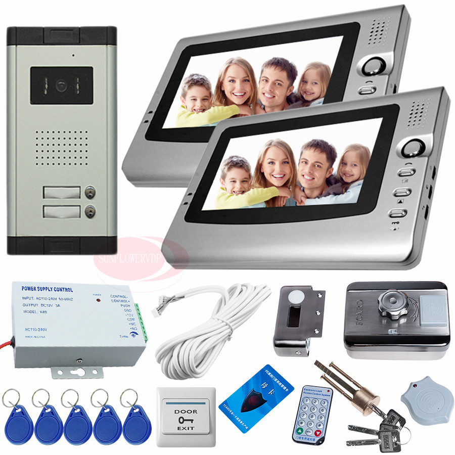 Video Intercom 2 Monitor For 2 Different Apartments Intercoms For Home With Rfid Electric Lock Door Video Phone Intercom System video phone intercom with door rfid electric lock intercom camera video doorbell for 6 apartments 7inch color tft lcd monitor