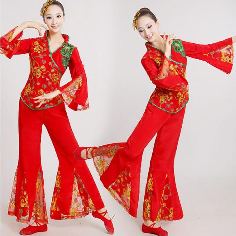 400e9229b28f6 Chino trajes de danza clásica danza yangko rojo Bordado trajes duanghuang  volando danza Drum wear stage performanceclothes