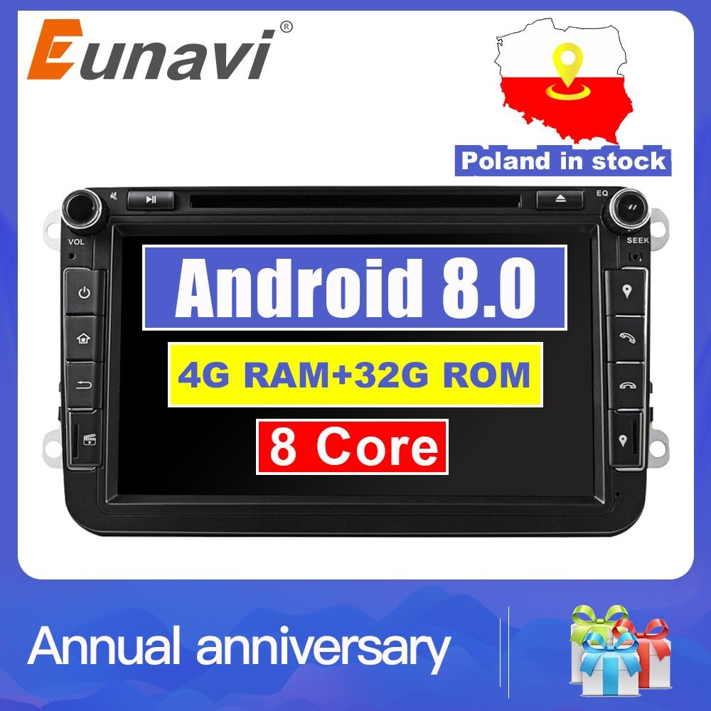 Eunavi 2din Android 8,0 Octa Core 4 GB RAM DVD del coche para VW Passat CC Polo GOLF 5 6 Touran EOS T5 Sharan Jetta Tiguan Radio GPS bt
