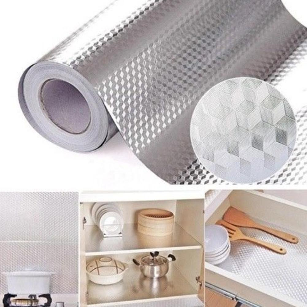 Durable Self Adhesive Waterproof Oil-proof Aluminum Foil Home Kitchen Hood Stove Temperature Resistant Wall Tile Sticker