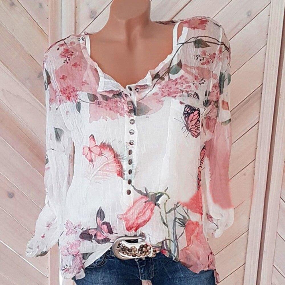Свободные блузки Для женщин Повседневное с цветочным принтом Кнопка рубашка шифон АСИММЕТРИЧНЫМ ПОДОЛОМ Блуза Топ Blusas Mujer De Moda 2018