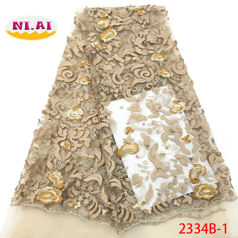 Gold Nigerian French 3D Lace Fabrics 2018 African Tulle Lace Fabric High Quality African Beaded Lace