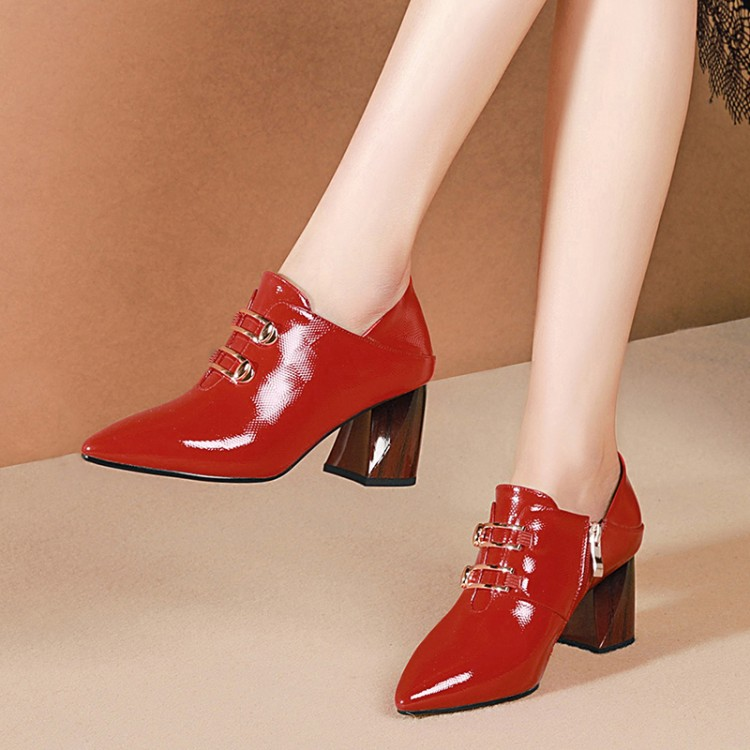 MLJUESE 2019 women pumps autumn spring Cow leather Metal decoration red color pointed toe high heels
