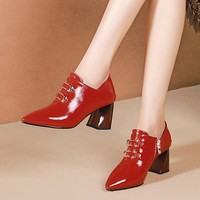 MLJUESE 2019 women pumps autumn spring Cow leather Metal decoration red color pointed toe high heels lady shoes party wedding