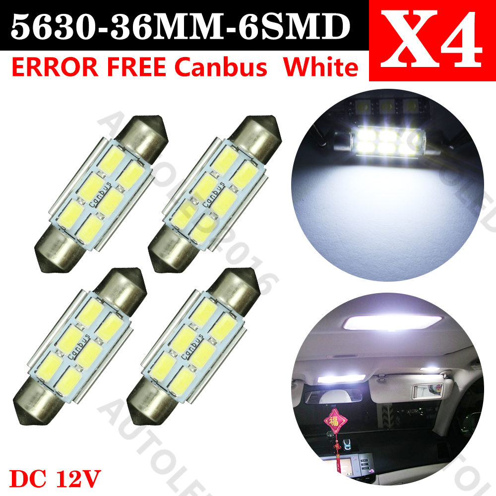 4x Festoon CANBUS 31mm 36mm 39mm 42mm C5W ERROR FREE 5630 5730 6 LED smd interior WHITE LED SMD bulbs 2pcs 4014 smd 12 led light canbus error free interior festoon doom lamp bulb pure white size 36mm 39mm 42mm wholesale 2016 new